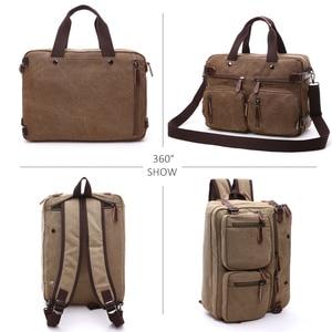 Image 3 - Retro erkek kanvas çanta deri evrak çantası seyahat bavul Messenger kol çantası arka çanta büyük rahat iş dizüstü cep