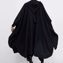 Winter Cloak Hooded Trench Coat Thick Woolen Women Gothic Cape Poncho Coat Open