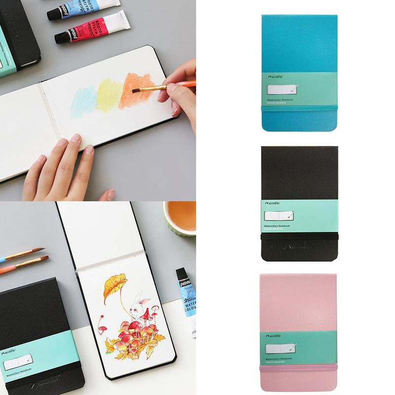 Portable Painting Pocket Watercolor Notebook 300g Mixed Cotton Wood Pulp Fine Lines A6 Painted Sketch Book Hand Art Supplies