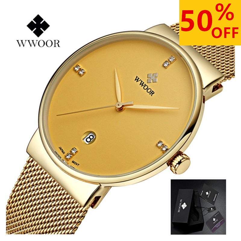 WWOOR Watch Men ultra thin mens watches top brand luxury Date quartz-watch Stainless Steel Waterproof Sports Watch Male Clock men watches top brand wwoor date clock male waterproof quartz watch men silver steel mesh strap luxury casual sports wrist watch