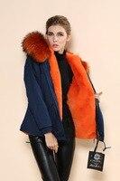 2017 Winter New Womens Dark Blue Orange Faux Fur Lined Parka Ladies Jacket Coats With Real Raccoon Fur Collar Hood Factory Price