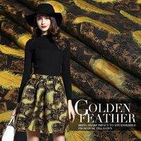 145cm wide high grade high precision yarn dyed jacquard fashion fabric dreamy golden feather half skirt dress cloth 400g/m