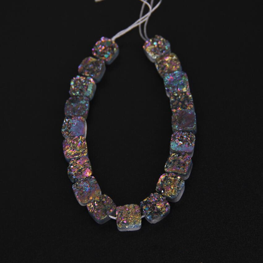 10 мм и 19 шт. strand, мистик Титан Радуга Природный Druzy Кварц купля свободные Бусины оптом, квадратный Форма Drusy Geode Бусины Подвески