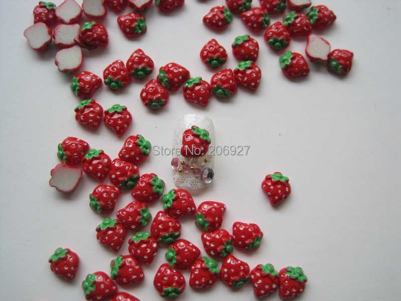 RC124-3 30pcs Cute Red Strawberry Shape Nail Resin Decoration Outlooking