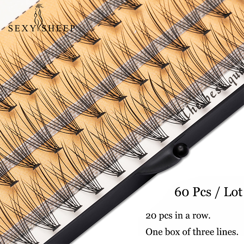 SEXYSHEEP 60pcs Various Lengths Natural Soft False Eyelash Extension Deluxe Lashes Fake Eyelashes Fans 3D Eyelashes Maquiagem