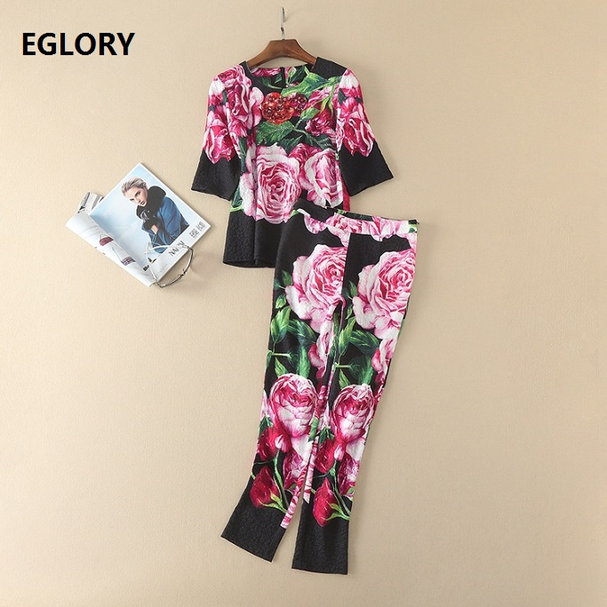 New Tops and Pants Set Women Fashion Summer 2017 Pink Rose Floral Print Beads Blouse+Skinny Leg Ankle-Length Pants Suit Female