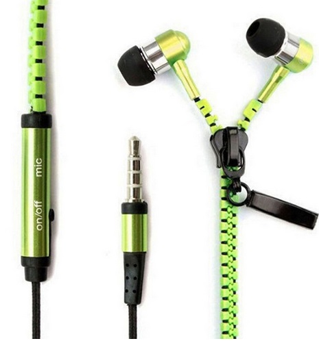 Handsfree Zipper Style Mini Earphone 3.5mm Aux Audio Jack In Ear Headphones Ear Phones Handfree MP3 Headset With Mic For Phone