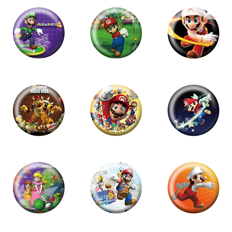 Wholesale,9Pcs Super Mario Bros Cartoon Button Pin Round Brooch Badges,Bags Decorate,fashion Badges Kids Party Gift