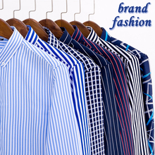 2018 Mens Business Casual Long Sleeved Shirt Men 4XL Plus Size Shirt Classic Striped Male Social Dress Shirts Outwear YN10235