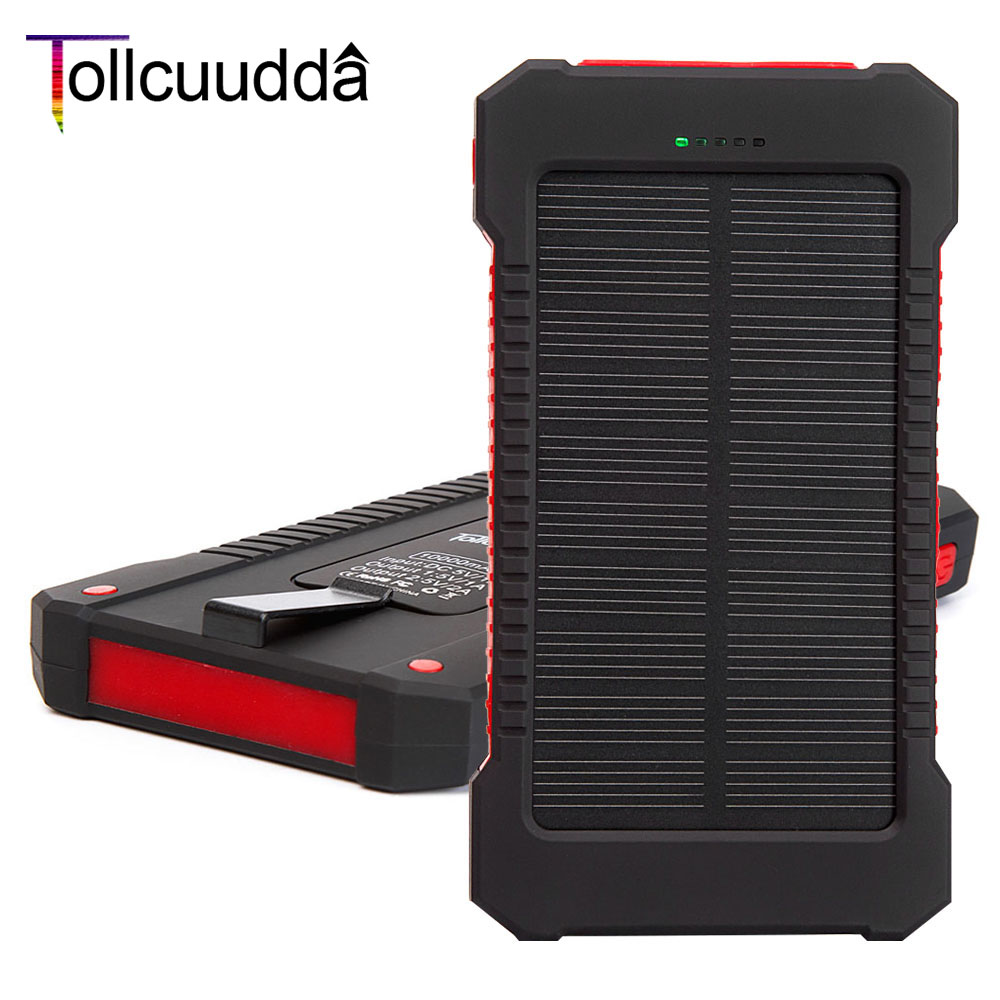 10000mAH Portable Charger Battery Solar Cell Power Pover Bank For Iphone 5 6 Mp3 Universal External Powerbank Batterie Cargador