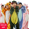 Inverno Quente de manga Longa Pijamas Crianças Dos Desenhos Animados do Anime Cosplay Animal Macacão Flanela Crianças Sleepwear Meninos Meninas Pijamas