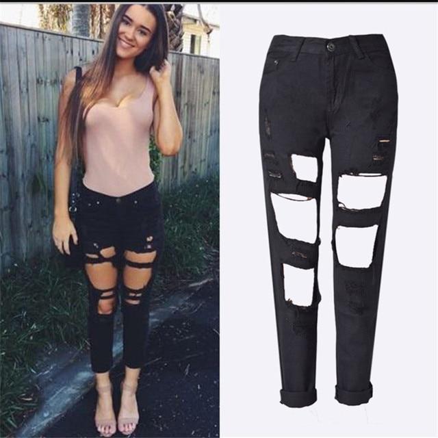 f4d2e0cca9c544 Ripped Mom Boyfriend Jeans for Women Pants Hollow Out High Waist Denim  Jeans Plus Size 5 Colors