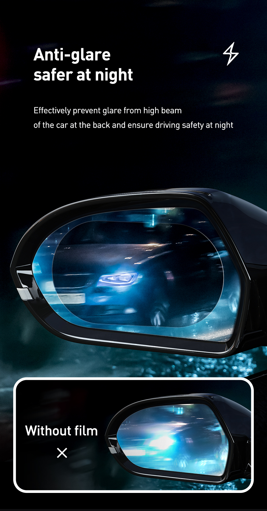 2 Pcs Baseus 0.15mm rainproof film for Car Rearview Mirror Window Clear Film Anti Fog