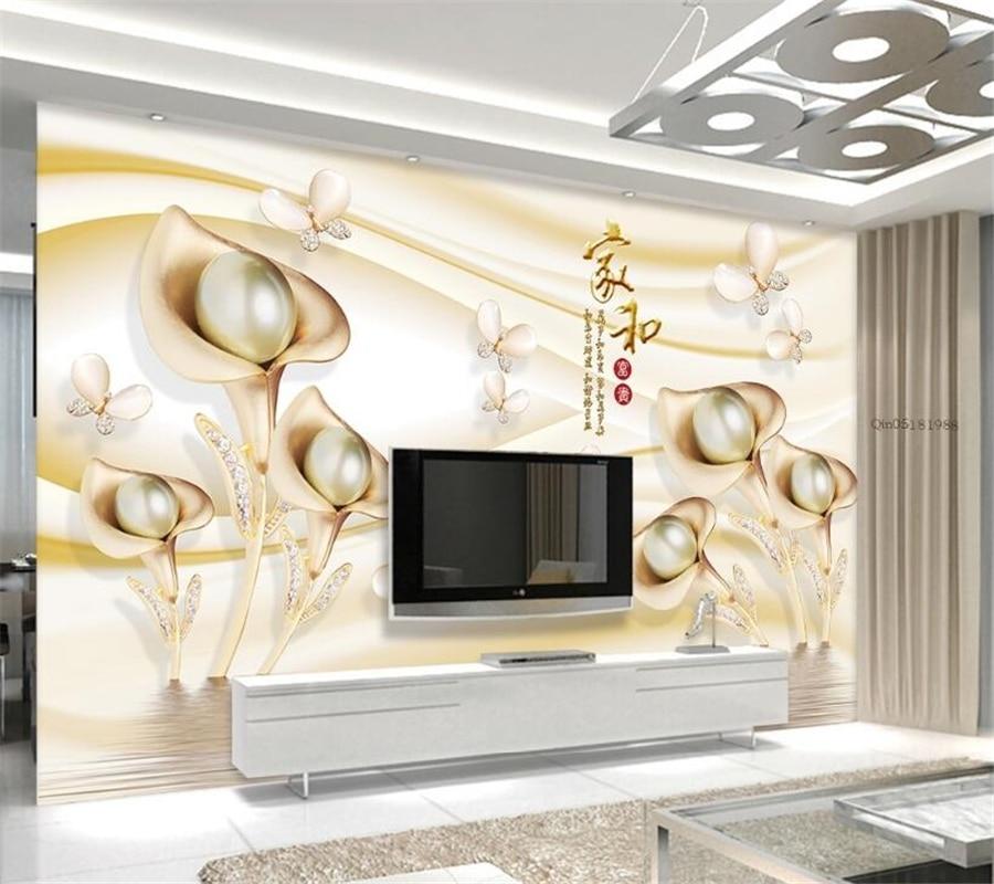Beibehang Custom Wallpaper 3d Calla Leaf Butterfly Water Wave Reflection Wallpaper Sofa TV Wall Background wallpaper for wall 3d