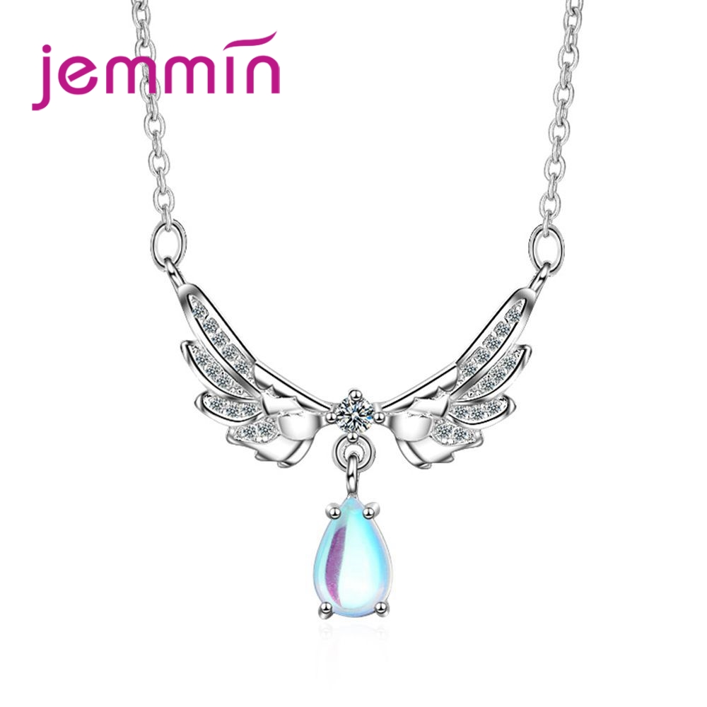 JEMMIN 100% Real S90 Silver Color Wing&Drop Shape Pendant Necklace Fashion Engagement Wedding Band Fashion Female BagueJEMMIN 100% Real S90 Silver Color Wing&Drop Shape Pendant Necklace Fashion Engagement Wedding Band Fashion Female Bague