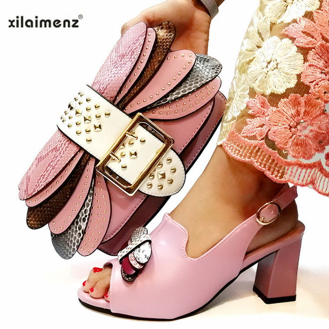 Mature Style Italian Ladies Matching Shoe and Bag Pu Nigerian Shoes and Bags Set for Party Women Shoe and Bag To Match in Pink