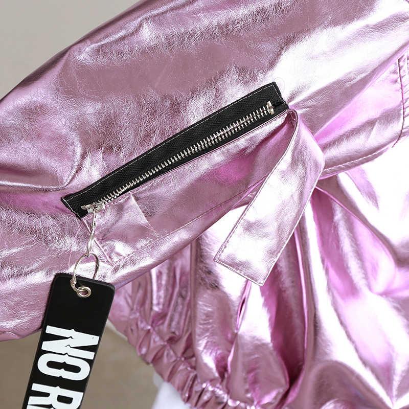 Lente Herfst Metalen Bomberjack Roze Zilver Hologram Parka Jas Punk Hip Hop Los Toevallige Vrouwen Mannen Uitloper Chaqueta Mujer