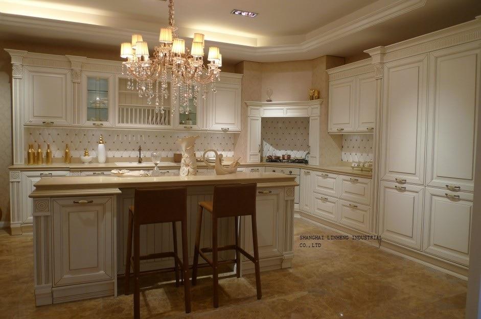 Gabinete de cocina de cerezo de color crema (LH SW068) en Gabinetes ...