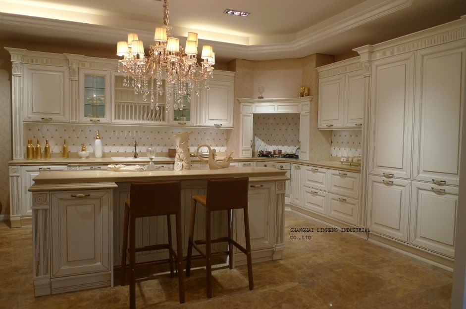 Cream Colored Cherry Kitchen Cabinet Lh