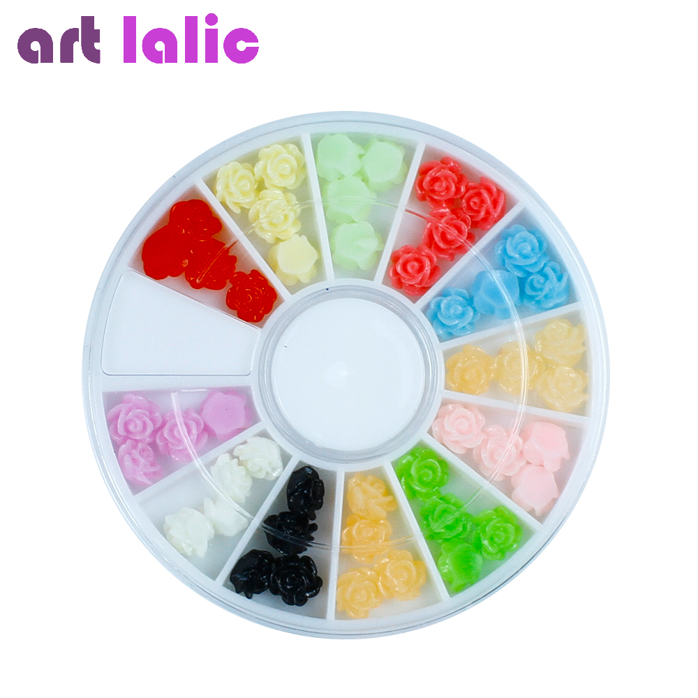 Free shipping 12 Colors UV Gel Acrylic Rose Flowers Resin Nail Art Decoration Manicure Wheel with case New diy 20pcs bag nail art decoration 3d gel polish beautifully oval stone charm diamond acrylic resin nail art accessorietips