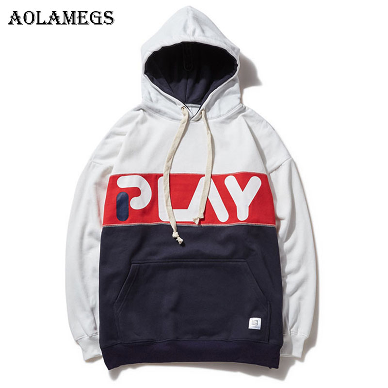Aolamegs Hoodies Men Patchwork Logo Hit Color Hood Couple Pullover Skateboard Fashion Hip Hop Streetwear Casual Hoodie Brand