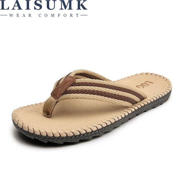LAISUMK 4 ألوان صنادل شاطئ حذاء رجالي شبشب صيفي الوجه يتخبط الرجال الصنادل حجم كبير 45 Sandalias Hombre Chausson أوم 1