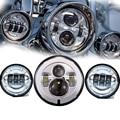 """7 Polegada Cromo Harley Daymaker LED Farol + 2x 4-1/2 """"Cromo Luz de Nevoeiro Luzes de Cruzamento para Harley Davidson Motocicleta Farol"""