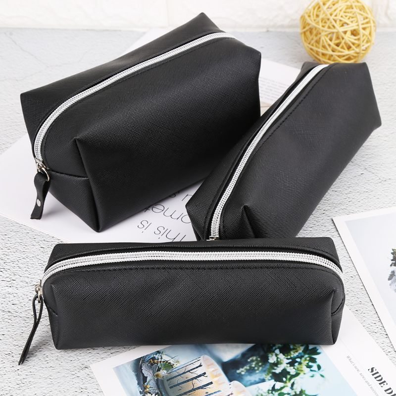 Large Capacity Leather Makeup Bag Case Pen Pencil Pouch Stationery Box Purse New