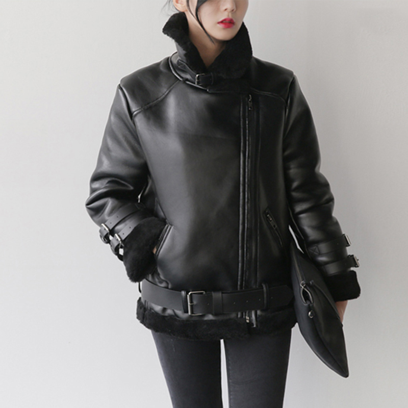 Women Thick Faux   Leather   Winter Female Pu   Leather   Zipper Jacket Warm Outwear Motorcycle Overcoat   Suede   Coats Plus Size RE0154