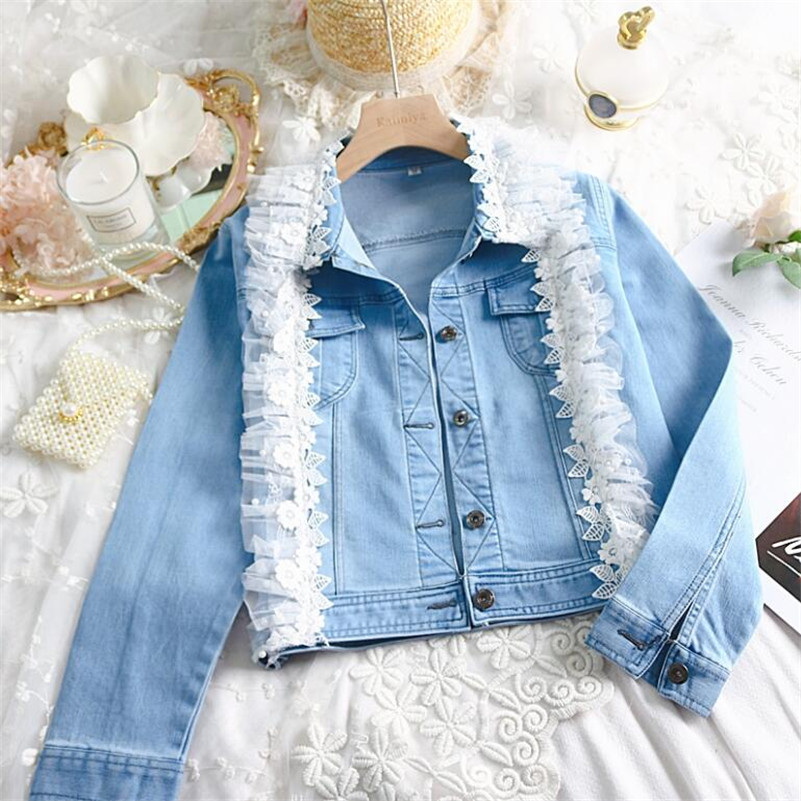 2019 Korean Sweet wind lapel three-dimensional lace all-match long-sleeved denim   jacket   women short design   basic     jacket   r961