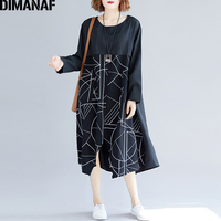 DIMANAF Women's Dresses Female Clothing Big Sizes Vintage Vestidos Loose Print Geometric Spliced Black Ladies Dress 2018 Autumn