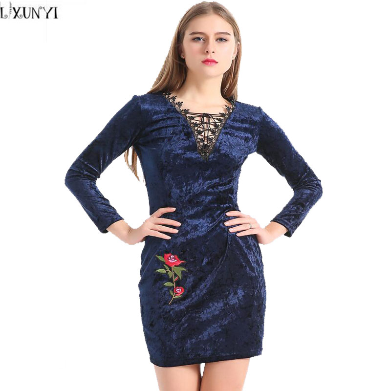 Blue velvet dress long sleeve