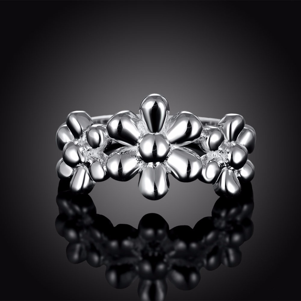 Europe and the United States popular selling personality silver flower ladies ring cocktail party line