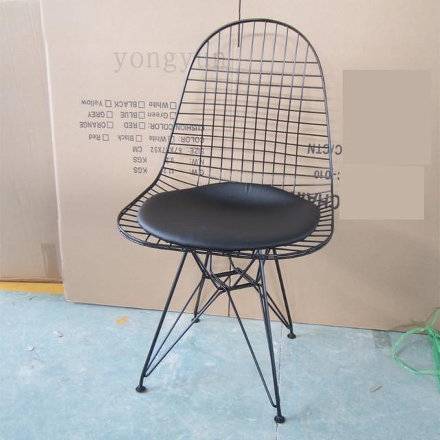 esszimmer mbel replik charles draht stuhl minimalistischen modernen mode esszimmerstuhl eisen sthle pulver beschichtet pu kissen - Stuhl Replik