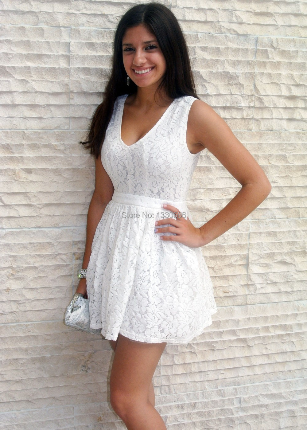Black dress under white graduation gown - Sweet 16 Cocktail A Line V Neck Sleeveless Beautiful Simple White Lace Homecoming Dresses 2017 Under 100