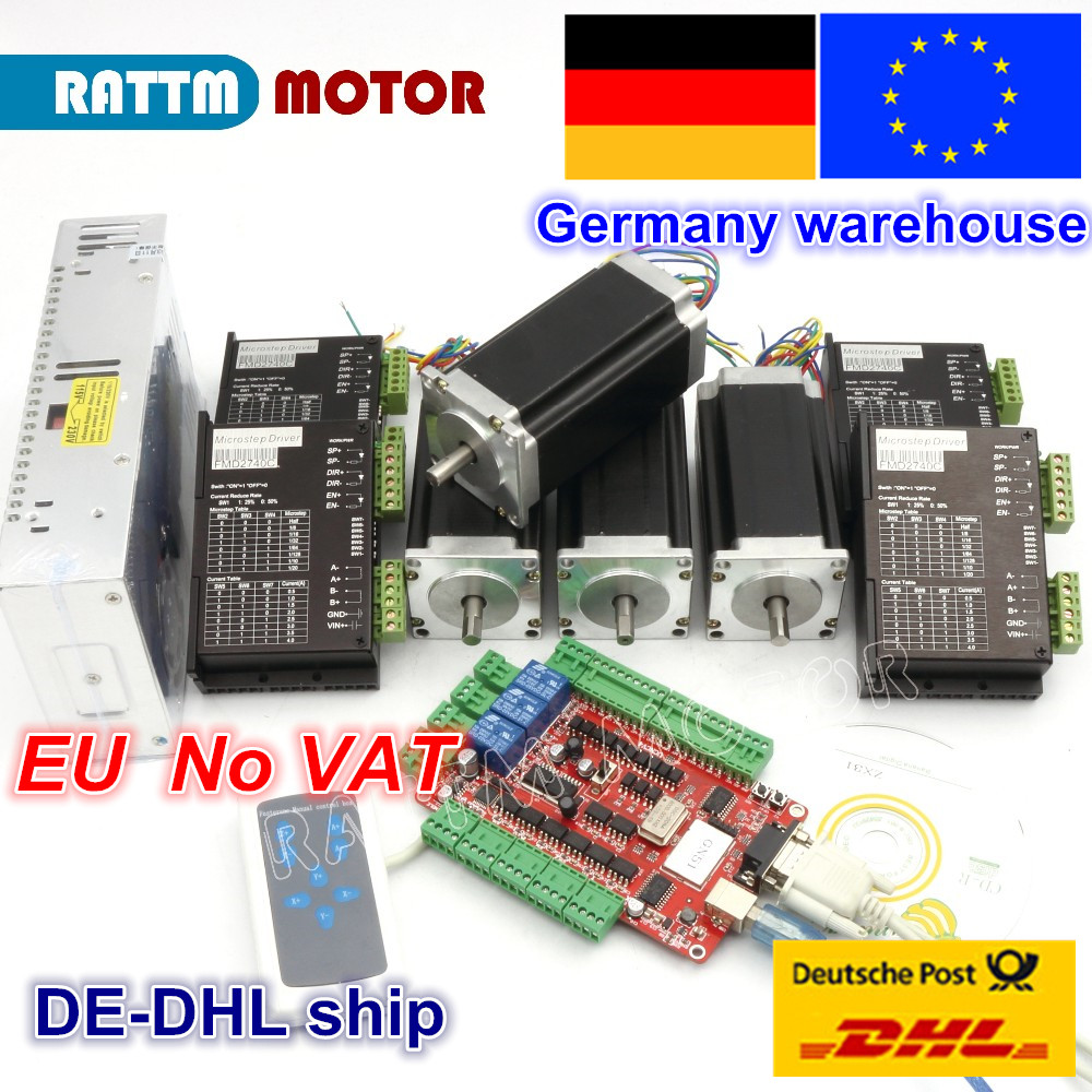 DE free VAT 4 Axis USBCNC Controller kit Nema23 Stepper Motor 425oz-in 112mm,3A Dual Shaft & 2740C Driver& 400W 36V power supply de ship free vat 4 axis nema23 425 oz in dual shaft stepper motor cnc controller kit
