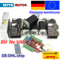 DE free VAT 4 Axis USBCNC Controller kit Nema23 Stepper Motor 425oz in 112mm,3A Dual Shaft & 2740C Driver& 400W 36V power supply