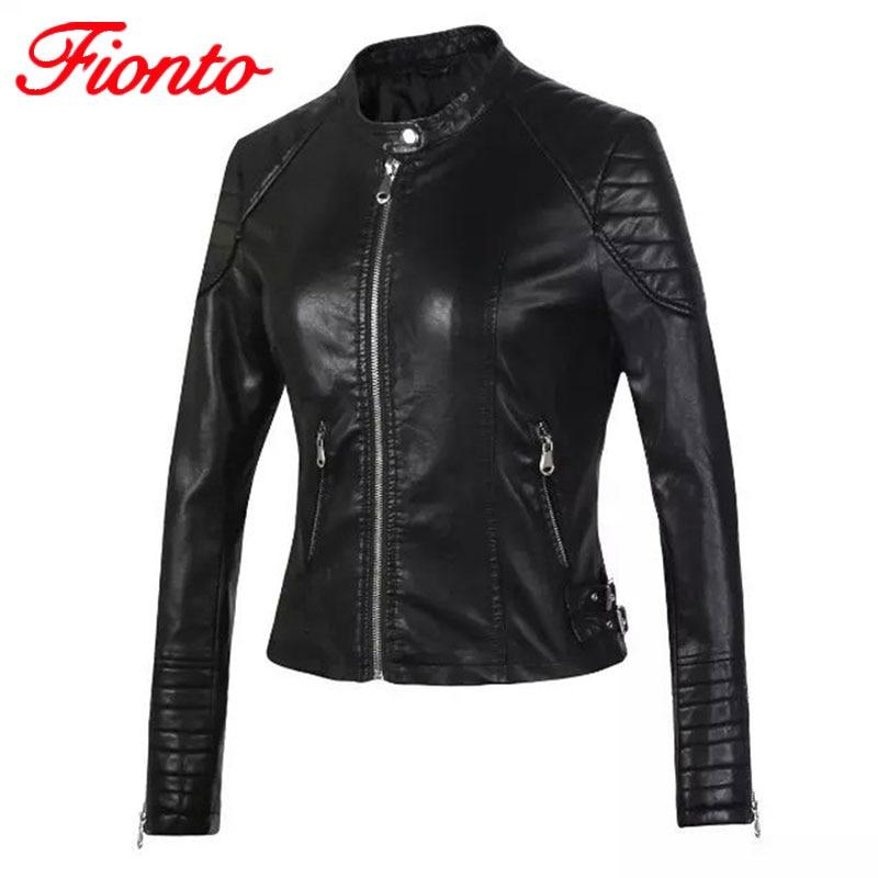 Leather   Jacket Women Slim Basic Coat Biker Motorcycle Soft Zipper girl   Leather   Jaquetas De Couro feminina Lady Clothing A1374