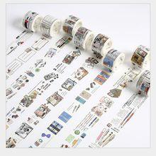 Vintage papelería serie herramienta de aprendizaje cuenta de mano cinta decorativa washi DIY planificador álbum de recortes diario Cinta adhesiva Escolar