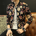 Hombres Chaqueta Ocasional Otoño Moda Floral Bomber Chaqueta Más El Tamaño slim fit de manga larga de abrigo masculino cuello alto mens clothing TC468
