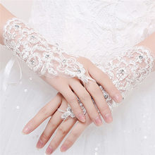 b2d52516d82 Tulle Short Crystals Rhinestone noiva Wedding Gloves Wrist Length Lace  Appliques White Red Bridal Gloves Wedding Accessories S3