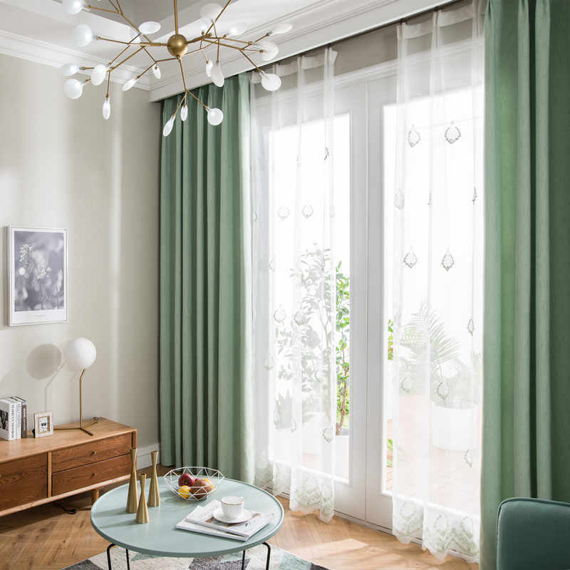 Nordic Shade Curtains for Living Dining Room Bedroom  Fabric Polyester Imitation Linen Blackout Curtains