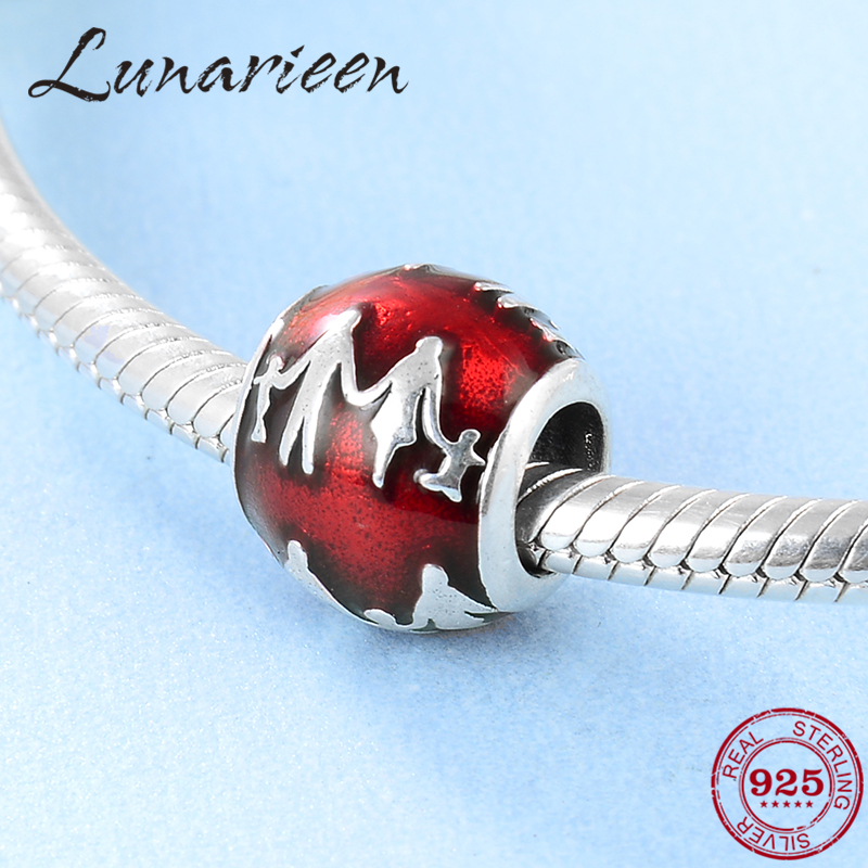 925 Sterling Silver Red Enamel Our Family DIY Beads Fit Original Pandora Charm Bracelet Jewelry Making Girlfriend Gift