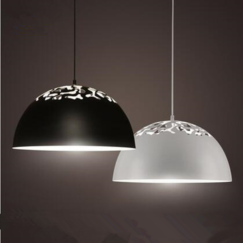 Modern Pendant lamp LED lights black white aluminum the Hollow out chandeliers indoor lightings ceiling coffee shop bar lighting modern fashion large spider braided chandeliers white black fabric shades diy 10 heads clusters of hanging ceiling lamp lighting
