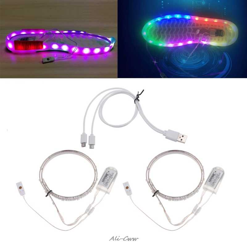 Led Strip Light 1 Pair 65CMX2 RGB SMD3528 Waterproof Flexible LED Strip Lights USB Strip Glowing Colored Lighting Shoe