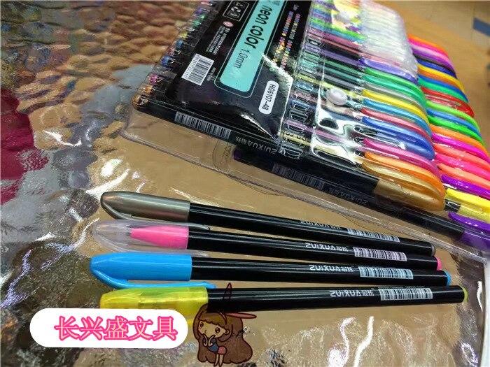 10pcs deslumbrar 48 caneta gel cor customizavel 02