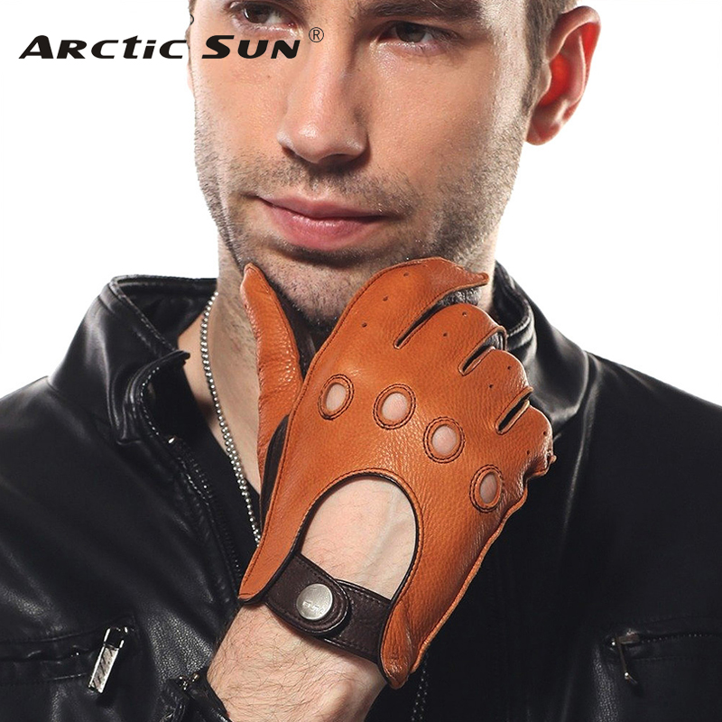 New Arrival Luxury Men Deerskin Gloves Fashion Genuine Leather Driving Glove Solid Wrist Breathable Motorcycle EM002W