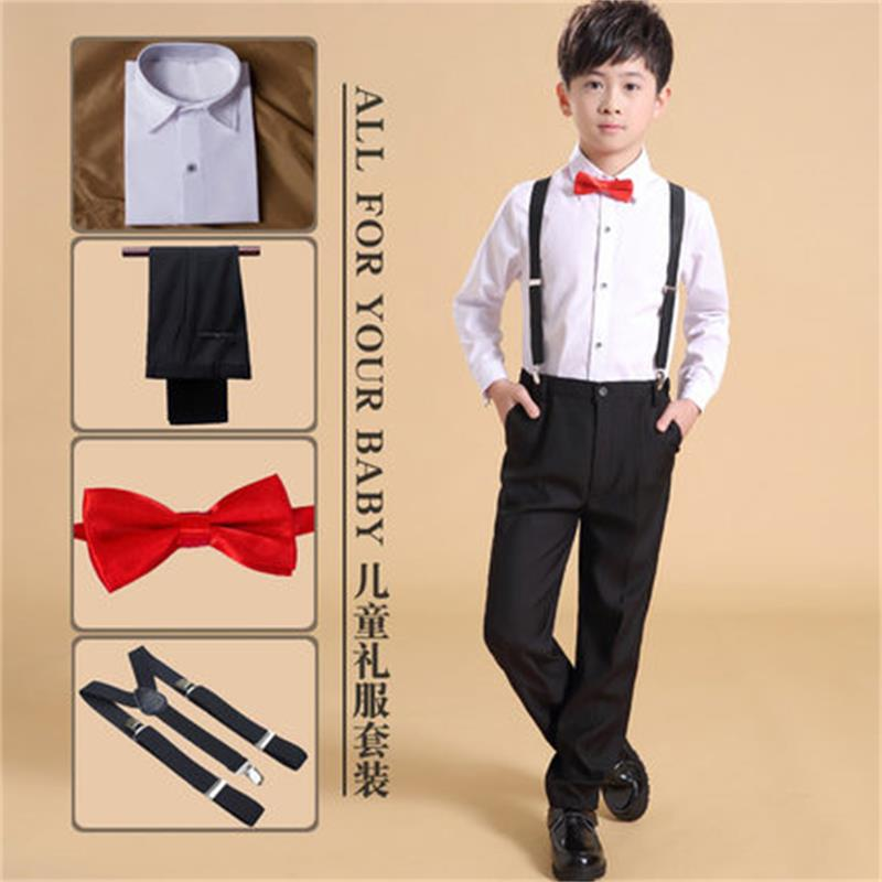 (Straps + Shirts + Bow Ties + Pants) Boys Clothing Sets Kids 4pcs Kids Spring Summer Dress Suits Suit Wedding Kids Clothes family ties