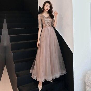 4f85757b0 Sexy cuello en V vestidos de encaje mujeres chinas Cheongsam vestido de  malla de longitud completa 2019 nueva novia boda noche fiesta Qipao