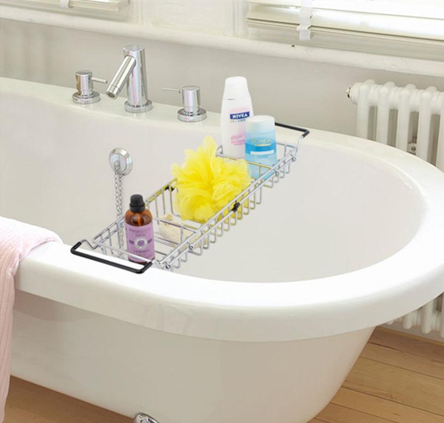 Mesh-Konstruktion Duschseifen Shampoos Organizer Badewanne Regal Caddy Tray mit ausziehbaren Seiten Nichtrostend Hohe Qualität